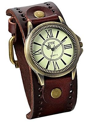 cheap Quartz Watches-vintage leather strap wide band wristwatch cuff quartz watch for men - brown