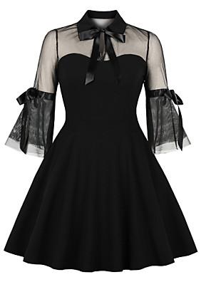 cheap Cocktail Dresses-A-Line Little Black Dress Vintage Party Wear Cocktail Party Dress Illusion Neck 3/4 Length Sleeve Short / Mini Spandex with Bow(s) Ruffles 2020