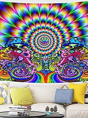 cheap Landscape Tapestries-Psychedelic Abstract Wall Tapestry Art Decor Blanket Curtain Picnic Tablecloth Hanging Home Bedroom Living Room Dorm Decoration Polyester Arabesque Hippie Sunshine Monster Skull Trippy Mountain Landsc