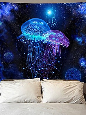 cheap Wall Tapestries-cosmic galaxy under sea ocean jellyfish wall tapestry hippie art tapestry wall hanging home decor extra large tablecloths 60x70 inches for bedroom living room dorm room