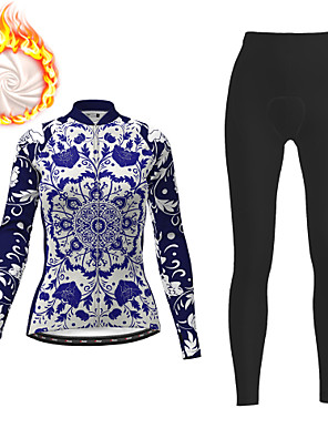 cheap Women's Cycling Jersey & Shorts / Pants Sets-21Grams Women's Long Sleeve Cycling Jersey with Tights Winter Fleece Polyester Dark Blue Floral Botanical Christmas Bike Clothing Suit Fleece Lining 3D Pad Warm Quick Dry Breathable Sports Floral