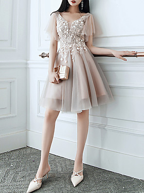 cheap Cocktail Dresses-A-Line Hot Floral Homecoming Cocktail Party Dress V Neck Short Sleeve Short / Mini Tulle with Tassel Appliques 2020