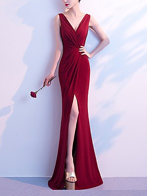 cheap Prom Dresses-Mermaid / Trumpet Elegant Minimalist Party Wear Formal Evening Dress V Neck Sleeveless Floor Length Cotton with Sleek Split 2020