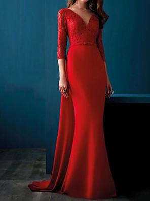 povoljno Večernje haljine-Sirena kroj Elegantno Vintage Gost vjenčanja Formalna večer Haljina V izrez 3/4 rukava Jako kratki šlep Saten s Aplikacije 2020