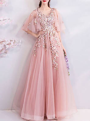 cheap Special Occasion Dresses-A-Line Elegant Floral Engagement Formal Evening Dress V Neck Half Sleeve Floor Length Tulle with Beading Appliques 2020