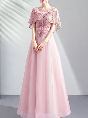 cheap Evening Dresses-A-Line Elegant Floral Engagement Formal Evening Dress Jewel Neck Half Sleeve Floor Length Lace Tulle with Beading Appliques 2020