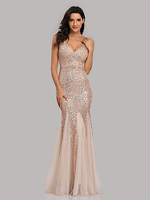 cheap Evening Dresses-Mermaid / Trumpet Sexy Sparkle Party Wear Formal Evening Dress V Neck Sleeveless Floor Length Sequined with Sequin 2020