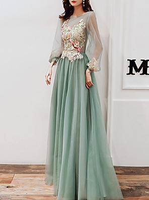 cheap Evening Dresses-A-Line Elegant Floral Wedding Guest Prom Dress Illusion Neck Long Sleeve Floor Length Tulle with Appliques 2020