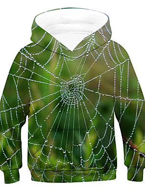 cheap Boys' Tops-Kids Boys' Active Basic 3D Long Sleeve Hoodie & Sweatshirt Green