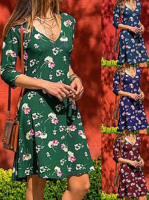 cheap Women's Dresses-Women's A-Line Dress Knee Length Dress - Long Sleeve Floral Print Summer V Neck Casual Daily Slim 2020 Blue Purple Wine Green S M L XL XXL XXXL