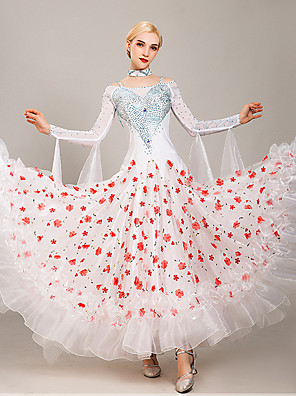 hesapli Balo Elbiseleri-Balo Dansı Elbise Nakış Malzeme Kombini Kristaller / Yapay Elmaslar Kadın's Eğitim Performans Uzun Kollu Tül Buz İpek