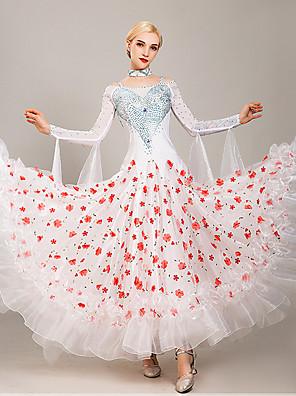 cheap Prom Dresses-Ballroom Dance Dress Embroidery Split Joint Crystals / Rhinestones Women's Training Performance Long Sleeve Tulle Ice Silk