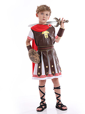 cheap Girls' Dresses-Pharaoh Cosplay Costume Party Costume Kid's Boys' Cosplay Halloween Halloween Festival / Holiday Polyester Brown Easy Carnival Costumes / Leotard / Onesie / Leotard / Onesie