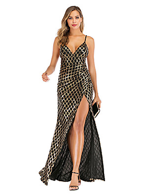 cheap Evening Dresses-Mermaid / Trumpet Glittering Sexy Party Wear Prom Dress Spaghetti Strap Sleeveless Floor Length Spandex with Split 2020