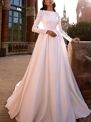 cheap Wedding Dresses-A-Line Wedding Dresses Jewel Neck Sweep / Brush Train Lace Satin Long Sleeve Simple with 2020