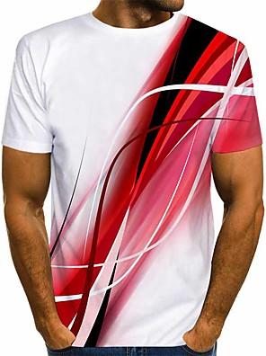 cheap Men's Tees-Men's T shirt Shirt 3D Print Graphic Print Short Sleeve Daily Tops Streetwear Round Neck Blue Red Gray