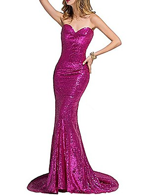 cheap Evening Dresses-Mermaid / Trumpet Sexy Sparkle Wedding Guest Formal Evening Dress Strapless Sleeveless Sweep / Brush Train Sequined with Sequin 2020