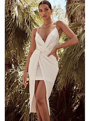cheap Cocktail Dresses-Sheath / Column Minimalist Sexy Party Wear Prom Dress V Neck Sleeveless Asymmetrical Chiffon with Criss Cross Split 2020