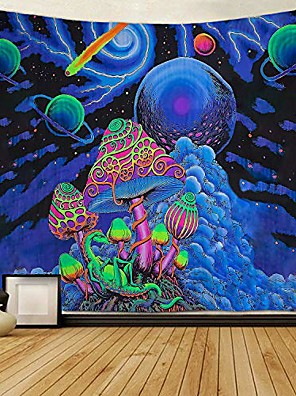cheap Landscape Tapestries-Psychedelic Abstract Wall Tapestry Art Decor Blanket Curtain Picnic Tablecloth Hanging Home Bedroom Living Room Dorm Decoration Polyester Arabesque Mushroom Trippy Mountain Galaxy Forest