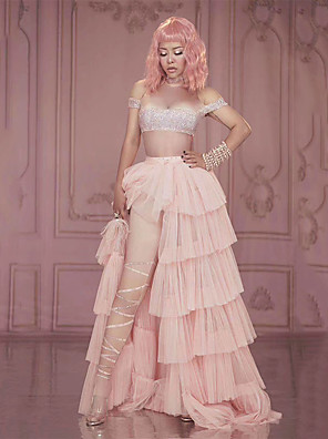 cheap Evening Dresses-Dance Costumes Exotic Dancewear Skirts Crystals / Rhinestones Women's Performance Sleeveless Spandex