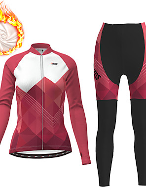 cheap Women's Cycling Jersey & Shorts / Pants Sets-21Grams Women's Long Sleeve Cycling Jersey with Tights Winter Fleece Polyester Fuchsia Gradient Geometic Bike Clothing Suit Thermal Warm Fleece Lining 3D Pad Warm Quick Dry Sports Patterned Mountain