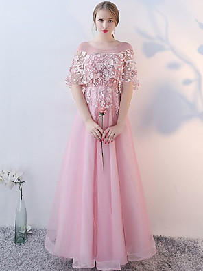 cheap Evening Dresses-A-Line Elegant Floral Wedding Guest Formal Evening Dress Illusion Neck Half Sleeve Floor Length Tulle with Beading Appliques 2020