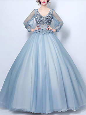 cheap Evening Dresses-Ball Gown Elegant Floral Quinceanera Formal Evening Dress V Neck Long Sleeve Floor Length Tulle with Beading Appliques 2020