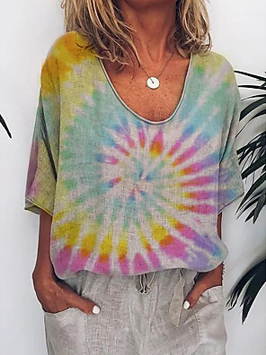 cheap Women's T-shirts-Women's T-shirt Tie Dye V Neck Tops Basic Basic Top Rainbow