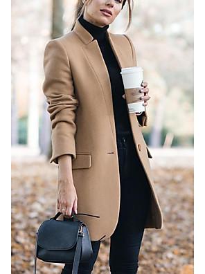 abordables Manteaux en Laine et Mélange de Laine pour Femme-Femme Mao Automne hiver Manteau Longue Géométrique Quotidien Basique Kaki M L XL