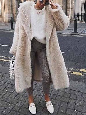abordables Robes pour Filles-Femme Droit 1 bouton Manteau Longue Couleur Pleine Quotidien basique Noir Vert Véronèse Beige S M L