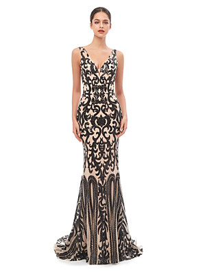 cheap Evening Dresses-Mermaid / Trumpet Celebrity Style Sexy Prom Formal Evening Dress V Neck Sleeveless Court Train Tulle Sequined with Sequin 2020