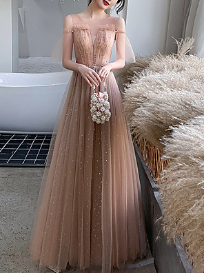 cheap Prom Dresses-A-Line Elegant Glittering Wedding Guest Prom Dress Illusion Neck Short Sleeve Floor Length Tulle with Pleats Sequin 2020