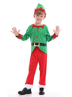 baratos Vestidos para Meninas-Papai Noel Fantasias de Cosplay Para Meninos Crianças Natal Natal Natal Poliéster Blusa / Calças / Chapéu