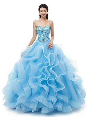 cheap Prom Dresses-Ball Gown Elegant Luxurious Quinceanera Formal Evening Dress Sweetheart Neckline Sleeveless Floor Length Organza with Crystals 2020
