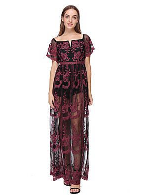 cheap Evening Dresses-Sheath / Column Minimalist Boho Holiday Party Wear Dress Scoop Neck Short Sleeve Floor Length Lace with Pattern / Print 2020