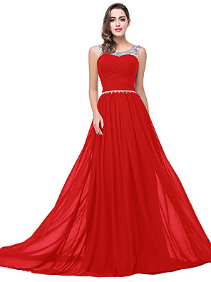 cheap Evening Dresses-A-Line Elegant Minimalist Wedding Guest Formal Evening Dress Illusion Neck Sleeveless Sweep / Brush Train Chiffon with Pleats Crystals 2020