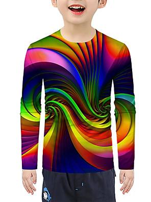 cheap Boys' Clothing-Kids Boys' Active 3D Long Sleeve Tee Rainbow