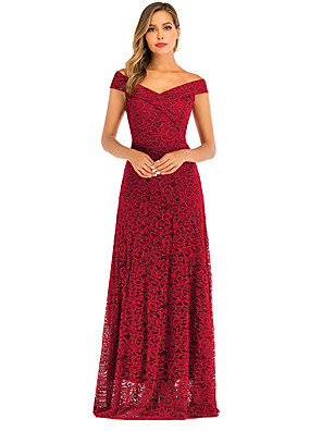 cheap Evening Dresses-A-Line Elegant Minimalist Party Wear Formal Evening Dress Off Shoulder Sleeveless Floor Length Lace with Pleats 2020
