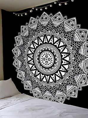 cheap Wall Tapestries-Wall Tapestry Art Decor Blanket Curtain Hanging Home Bedroom Living Room Dorm Decoration Polyester Black White Mandala Views Indian