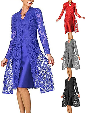 cheap Prom Dresses-Women's Lace Knee Length Dress - Long Sleeve Solid Colored Lace Spring Fall V Neck Plus Size For Mother / Mom Going out Lace 2020 Black Blue Red Gray S M L XL XXL XXXL XXXXL XXXXXL / Satin