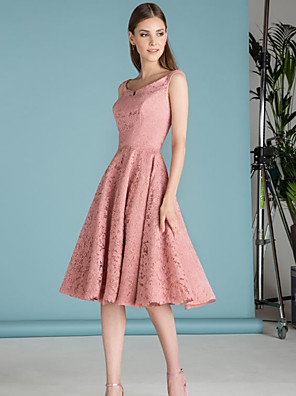 cheap Cocktail Dresses-A-Line Elegant Minimalist Party Wear Cocktail Party Dress Off Shoulder Sleeveless Short / Mini Lace with Pleats 2020