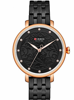 cheap Quartz Watches-CURREN Women's Quartz Watches Quartz Formal Style Modern Style Minimalist Water Resistant / Waterproof Stainless Steel Black / Silver / Gold Analog - Black Gold Silver One Year Battery Life