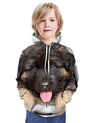 cheap Boys' Tops-Kids Boys' Basic Graphic Animal Long Sleeve Hoodie & Sweatshirt Brown