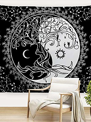 """cheap Landscape Tapestries-trippy sun and moon tapestries bohemian hippie black and white tapestry psychedelic yin yang wall art tree of life wall hanging blanket bedspread table cloth for bedroom dorm 80"""" w x 60""""l"""