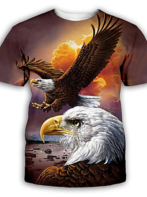 cheap Men's Tees-Men's Tee T shirt 3D Print Graphic Eagle Print Short Sleeve Party Tops Basic Designer Exaggerated Round Neck Blue Yellow Light Brown