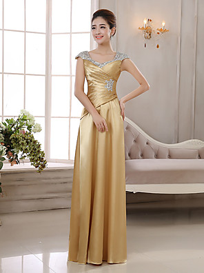 cheap Evening Dresses-Sheath / Column Elegant Glittering Wedding Guest Formal Evening Dress V Neck Sleeveless Floor Length Charmeuse with Ruched Crystals 2020