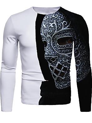billige Herretopper-Herre T skjorte 3D-utskrift Grafisk 3D Langermet Daglig Topper Grunnleggende Svart / Hvit Hvit Blå