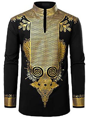 cheap Men's Shirts-men's african dashiki luxury metallic gold printed mandarin collar shirt black large