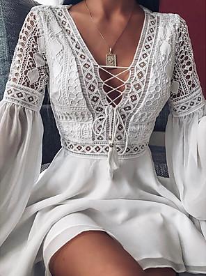 Χαμηλού Κόστους Μακριά Φορέματα-Γυναικεία Φόρεμα σε γραμμή Α Φόρεμα μέχρι το γόνατο - Μακρυμάνικο Συμπαγές Χρώμα Με Βολάν Patchwork Φθινόπωρο Λαιμόκοψη V Σέξι Διακοπές Σαββατοκύριακο Φαρδιά 2020 Λευκό Μαύρο M L XL XXL XXXL XXXXL