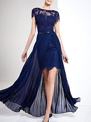 cheap Evening Dresses-A-Line Beautiful Back Sexy Wedding Guest Formal Evening Dress Illusion Neck Short Sleeve Floor Length Chiffon with Sash / Ribbon Pleats Overskirt 2020